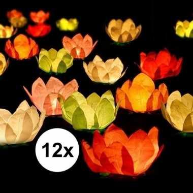 12x bruiloft/huwelijk drijvende kaarsen/lantaarns bloemen 29 cm