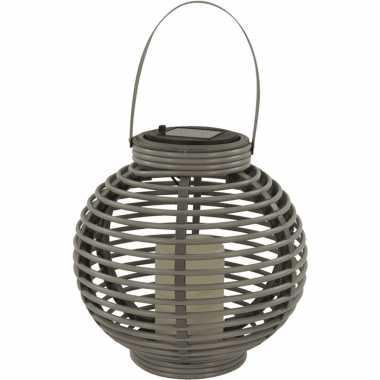 1x buiten/tuin grijze rotan lampionnen/hanglantaarns 20 cm solar tuinverlichting
