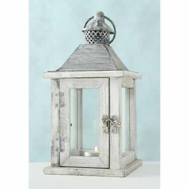 1x houten lantaarn/windlicht kaarsenhouders wit 13 x 25 cm