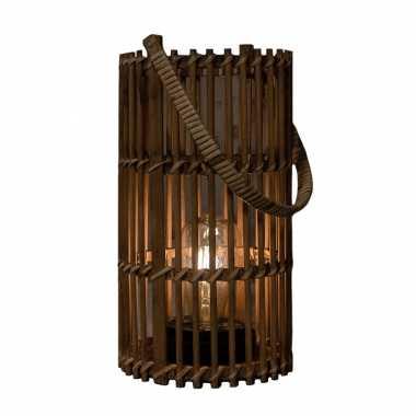 1x stuks bruine solar lantaarns van bamboe 32 cm