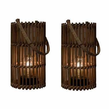 2x stuks bruine solar lantaarns van bamboe 32 cm