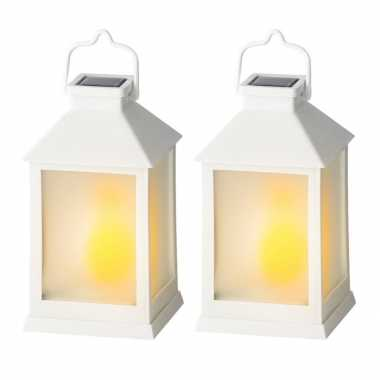 2x stuks solar lantaarn kunststof met vlam effect wit 18 cm