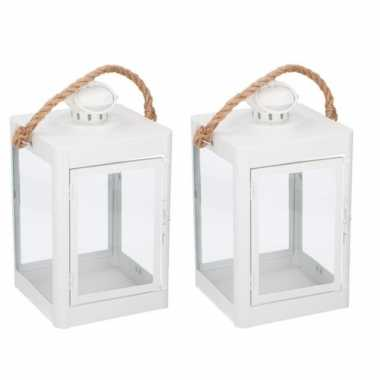 2x stuks witte lantaarns met koord tuin decoratie 19 x 35 cm