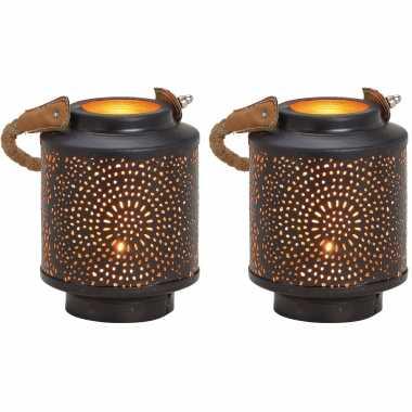 2x waxinelichthouders windlichten/lantaarns metaal zwart/goud 13 cm