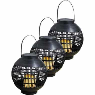 3x buiten/tuin zwarte rotan lampionnen/hanglantaarns 20 cm solar tuinverlichting