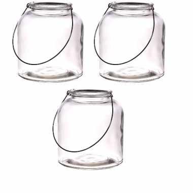 3x glazen lantaarns/windlichten/vazen met hengsel 18 x 20 cm