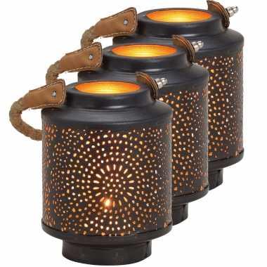 3x waxinelichthouders windlichten/lantaarns metaal zwart/goud 13 cm