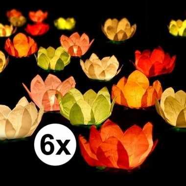 6x drijvende kaarsen/lantaarns bloemen 29 cm gekleurd papier