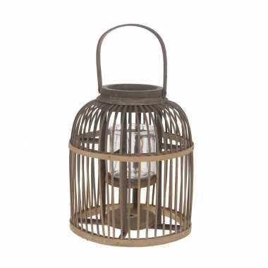 Bamboe lantaarn/windlicht met glas 25 x 30 cm