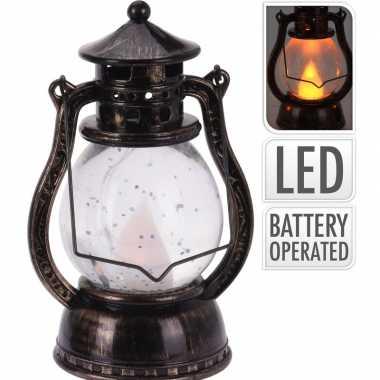 Bronzen lantaarn decoratie 12 cm vlam led licht op batterijen