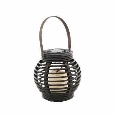 Buiten/tuin zwarte rotan lampionnen/hanglantaarns 16 cm solar tuinverlichting