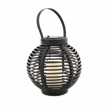 Buiten/tuin zwarte rotan lampionnen/hanglantaarns 20 cm solar tuinverlichting