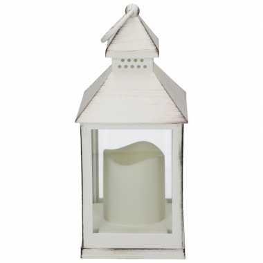 Halloween - lantaarn led kaars wit 24 cm