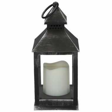 Halloween - lantaarn led kaars zwart 24 cm