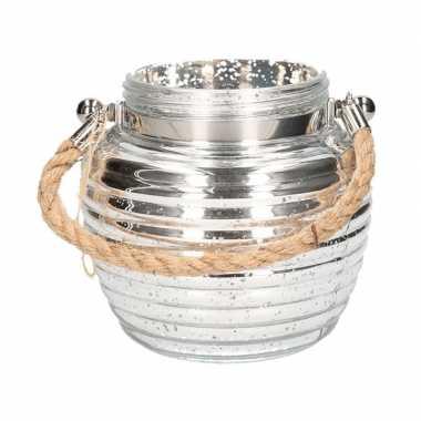 Home deco windlicht lantaarn zilver 13 cm