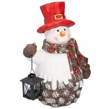 Kerst sneeuwpop beeld met lantaarn 41 cm