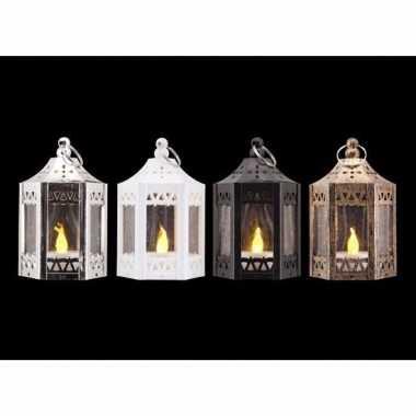 Kerst zilveren lantaarn met led theelichtje 10 cm