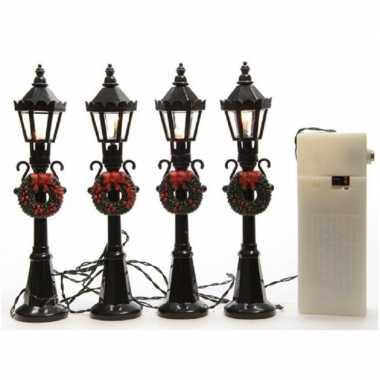 Kerstdorp onderdelen/materialen 8x miniatuur lantaarnpalen met licht