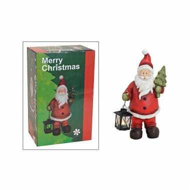 Kerstman beeld met lantaarn 41 cm