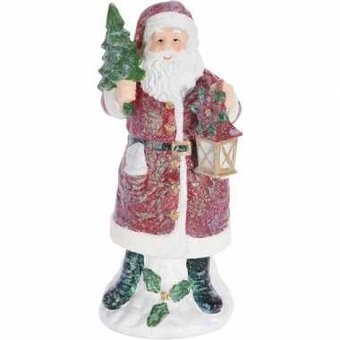 Kerstman beeldje met lantaarn 27 cm