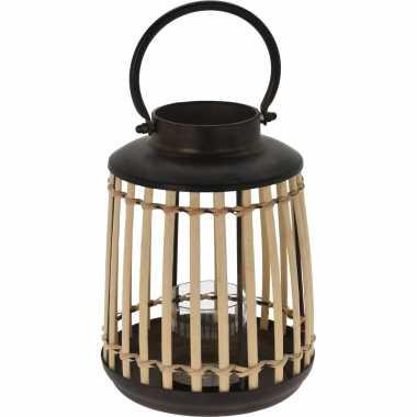 Lantaarn/windlicht bamboe/metaal 18 x 24 cm zwart