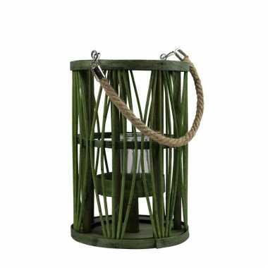 Lantaarn windlicht rotan/glas 17 x 24 cm groen