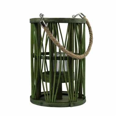 Lantaarn windlicht rotan/glas 19 x 27 cm groen
