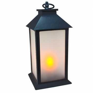 Led lantaarn zwart met gloei effect 30 cm