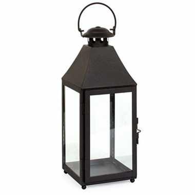 Metalen lantaarn/windlicht bilbao 14 x 14 x 37 cm zwart