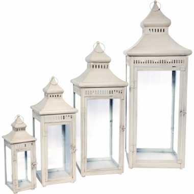 Metalen lantaarn wit 55 cm