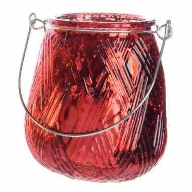 Rode theelichthouder lantaarn 10 cm