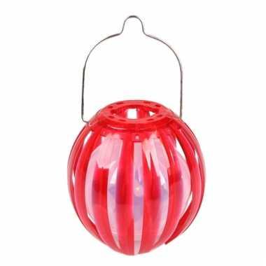 Ronde solar lantaarn rood 11 cm