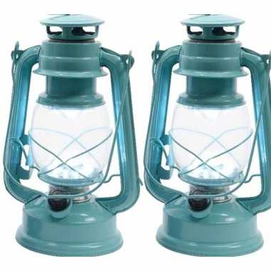 Set van 2 mintgroene led licht stormlantaarns 25 cm