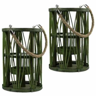 Set van 2x stuks lantaarn windlicht rotan/glas 17 x 24 cm groen