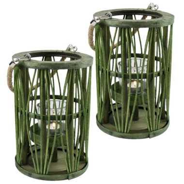 Set van 2x stuks lantaarn windlicht rotan/glas 19 x 27 cm groen