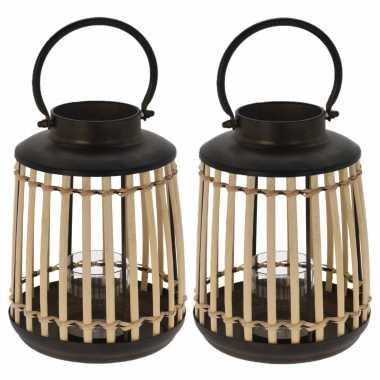 Set van 2x stuks lantaarns/windlichten bamboe/metaal 18 x 24 cm zwart