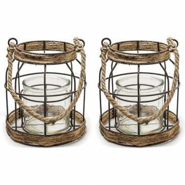 Set van 2x stuks metalen/jute lantaarn kaarsenhouders 16 x 19 cm