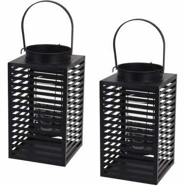 Set van 2x stuks metalen lantaarn/windlicht kaarshouder zwart 12 x 24,5 cm