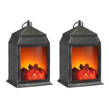 Set van 2x stuks sfeerhaarden lantaarns met led verlichting 16 x 14 x 27 cm