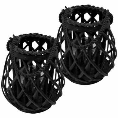 Set van 3x stuks lantaarn windlicht rotan/glas 20 cm zwart