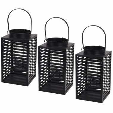 Set van 3x stuks metalen lantaarn/windlicht kaarshouder zwart 12 x 24,5 cm