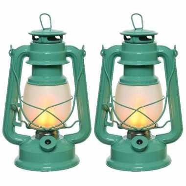 Set van 3x stuks turquoise blauwe led licht stormlantaarn 24 cm met vlam effect