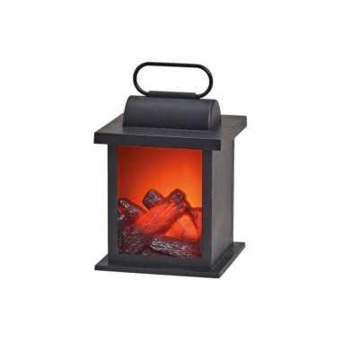 Sfeerhaard/open haard lantaarn zwart met led verlichting l12 x b18 x h12 cm