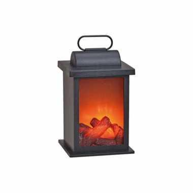 Sfeerhaard/open haard lantaarn zwart met led verlichting l14 x b14 x h27 cm