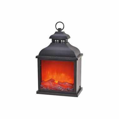 Sfeerhaard/open haard lantaarn zwart met led verlichting l15 x b25 x h39 cm
