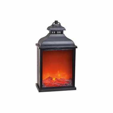 Sfeerhaard/open haard lantaarn zwart met led verlichting l15 x b25 x h45 cm