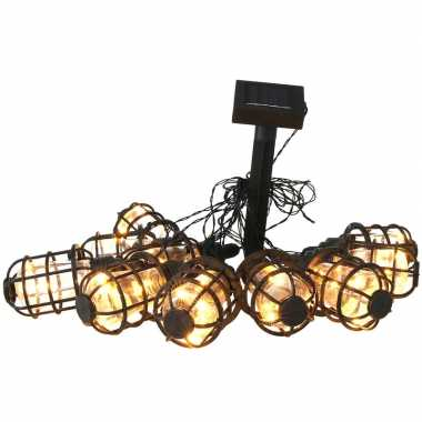 Solar feestverlichting/tuinverlichting met 10 warm witte lantaarns 300 cm