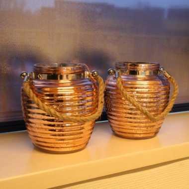 Woondecoratie vensterbank lantaarns koper 2 stuks