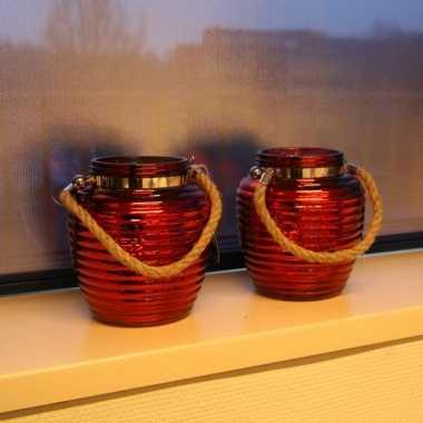 Woondecoratie vensterbank lantaarns rood 2 stuks
