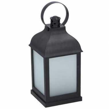 Zwarte lantaarn met frosted glas en led 25 cm